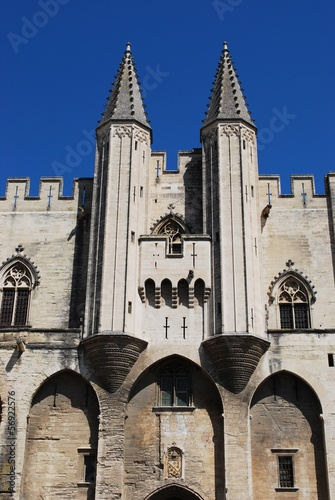 Facade detail of Popes Palace in Avignon, Provence, France