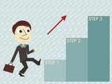 Manager with three steps infographic template