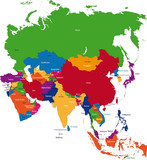 Colorful Asia map