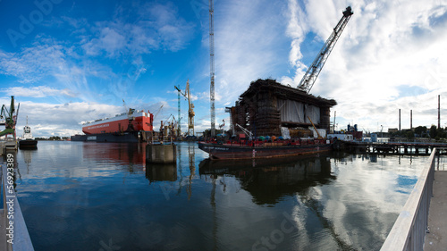 Docking oil rig at the Gdansk Shipyard under construction in Gda © piccaya