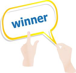 hands push word winner on speech bubbles