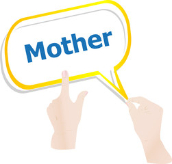 hands push word mother on speech bubbles