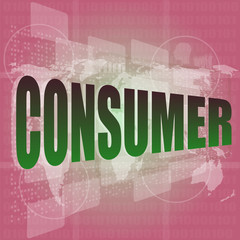 consumer words on digital touch screen interface - business