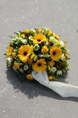 Yellow sympathy flowers