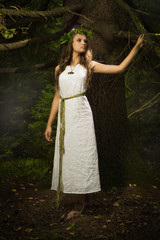 Slavonian girl in the deep forest