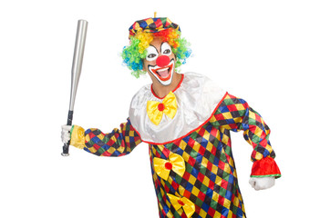Clown with baseball bat isolated on white