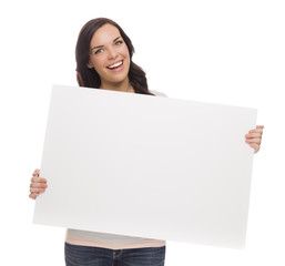 Beautiful Mixed Race Female Holding Blank Sign on White.