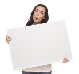 Wide Eyed Mixed Race Female Holding Blank Sign on White.