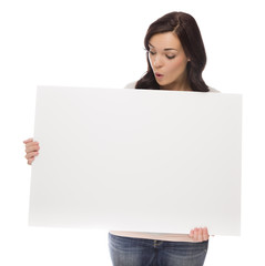 Mixed Race Female Holding Blank Sign on White.