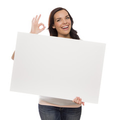 Smiling Mixed Race Female Holding Blank Sign on White.