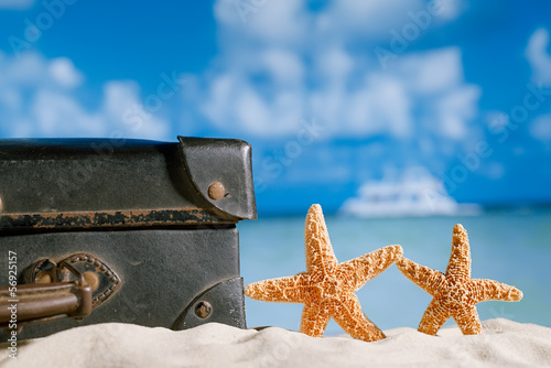old retro antique suitcase on beach with starfish, sea and sky b