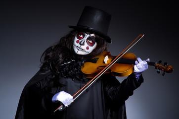 Monster playing violin in dark room