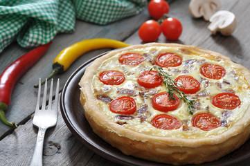 quiche pie with chicken and cherry tomato