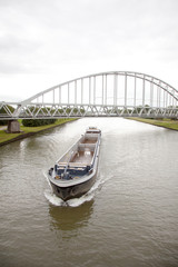 empty ship in canal in holland