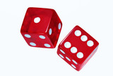 Red dice on white.