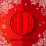 Red origami paper vector Christmas ball