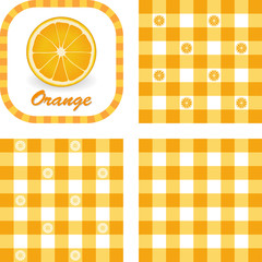 Orange label tag, 3 styles gingham seamless pattern tiles