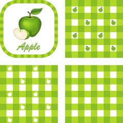 Green Apple label tag, 3 styles gingham seamless pattern tiles