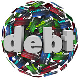 Debt Word Credit Card Ball Bankrupt Money Problem
