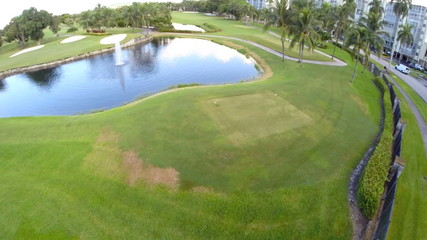 Stock aerial footage of a golf course