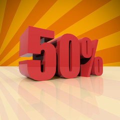 Discount fifty percent on orange background
