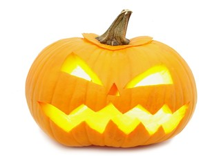 Single Halloween Jack o Lantern isolated on white