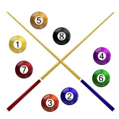 Two cue and billiard balls on a white background