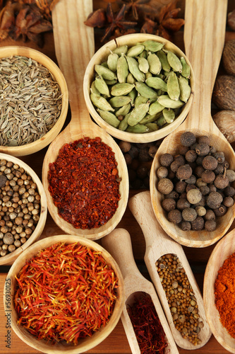Many different spices and fragrant herbs - 56930125