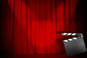 theatre red curtain with empty clapper board