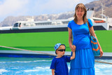 mother and son in the port, travel concept