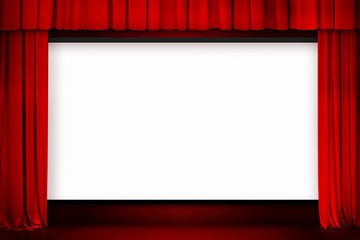 cinema screen with open red curtain