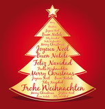 Christmas card with greetings in several languages.