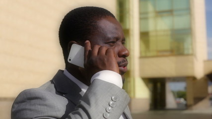 African-American businessman having a phone talk