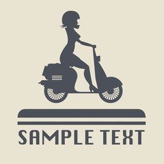 Scooter Girl icon or sign, vector illustration