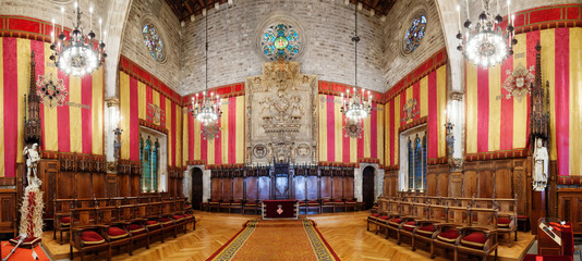 Panorama of ancient hall in city hall in Barcelona