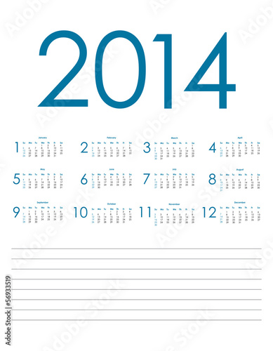 special blue calendar for 2014, vector eps10 illustration