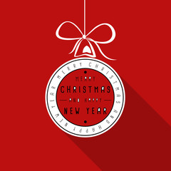 red flat typograhic transparent christmas card