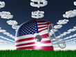 American FLag Football Helmet on Grass with DollarSymbol Clouds