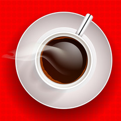 Cup of coffee on red background. Vector