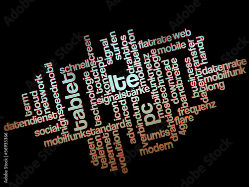 LTE wordcloud 3D black