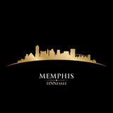 Memphis Tennessee city skyline silhouette black background poster