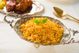 Chicken Biryani rice in silver plate
