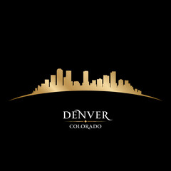 Denver Colorado city skyline silhouette black background