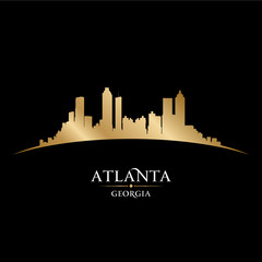 Atlanta Georgia city skyline silhouette black background