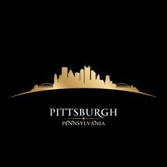 Pittsburgh Pennsylvania city skyline silhouette black background