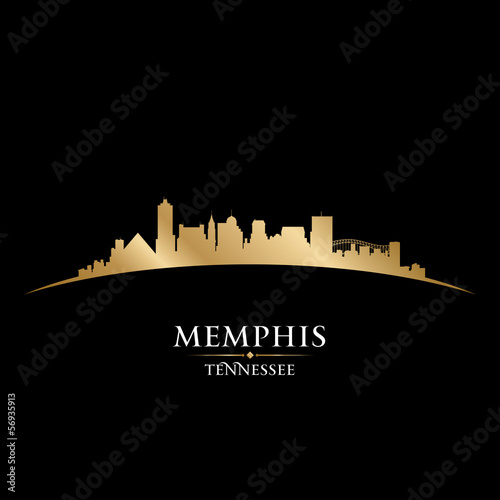 Memphis Tennessee city skyline silhouette black background