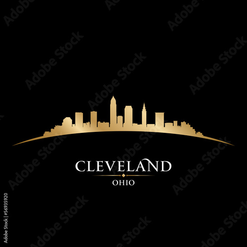 Cleveland Ohio city skyline silhouette black background