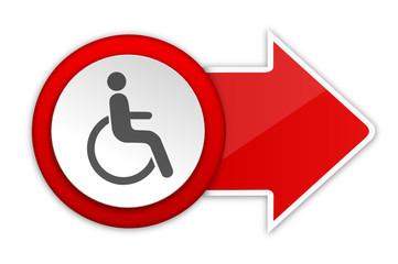 Pfeil rot Rollstuhlfahrer