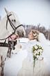 The beautiful bride with a horse in a winter park