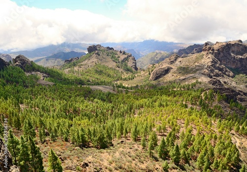 Gran Canaria mountain landscape. View from Roque Nublo peak.